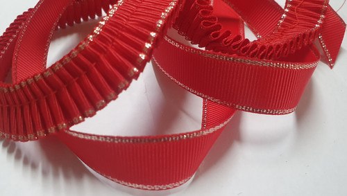 15mm Red Silver Edged Gingham Ribbon (Plain and Pleated) x 50cm
