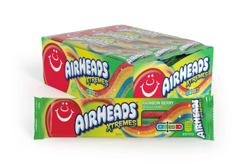 Airheads Extreme Sour Belt Rainbow Berry 18 Count
