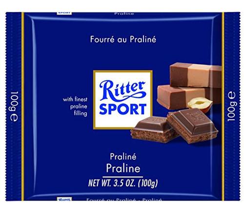 Ritter Sport Milk w/Nougat Praline 3.5 Ounce 12 Count