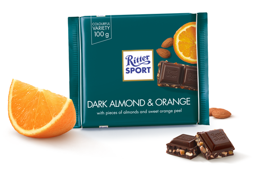 Ritter Sport Dark Almond and Orange 3.5 Ounces 12 Count