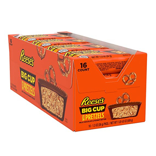 Reese's Peanut Butter Big Cup with Pretzels Countgood 1.3 Ounce 16 Count