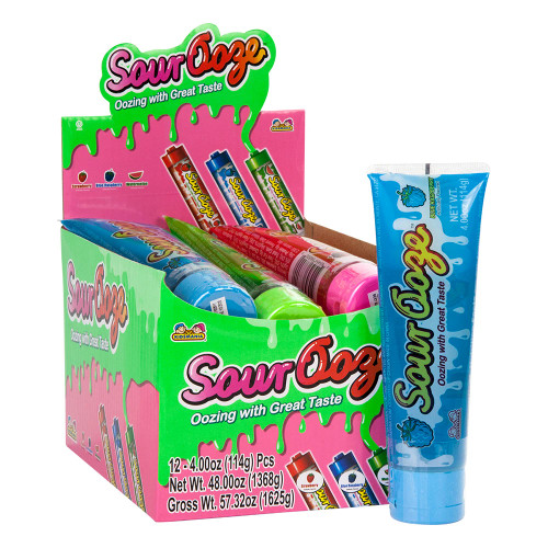 Sour Ooze Tube Squeeze Candy 4 Ounces 12 Count