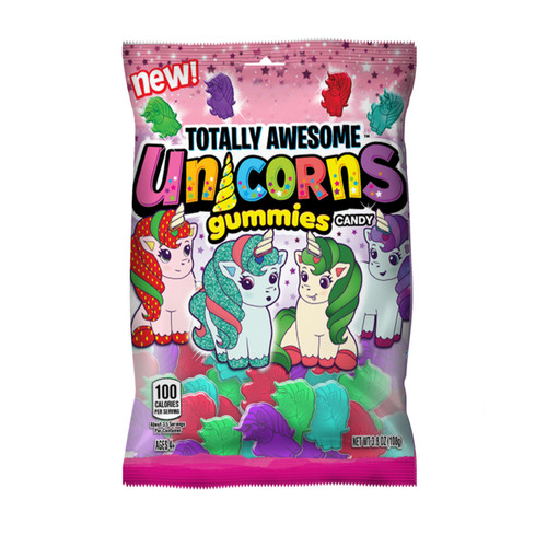 Totally Awesome Unicorn Gummies 12 Count 3.8 Ounce Peg Bag
