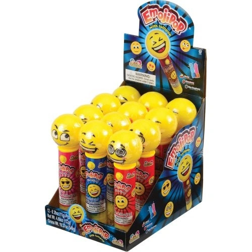 Emojipop Lollipop With Light Up Face 0.39 Ounce 12ct
