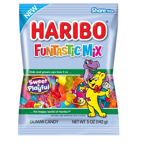 Haribo Funtastic Mix Gummy Candy 5 Ounce 12 Count Peg Bag