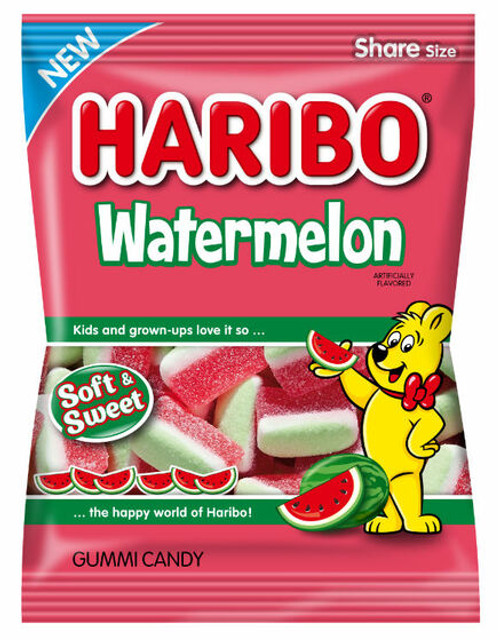 Haribo Watermelon Gummy Candy 4.1 Ounce 12 Count Peg Bag