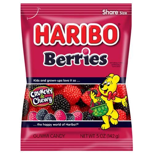 Haribo Raspberries Gummy Candy 5 Ounce 12 Count Peg Bag