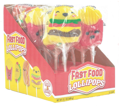 Fast Food Lollipops 1.76 Ounce 12 Count