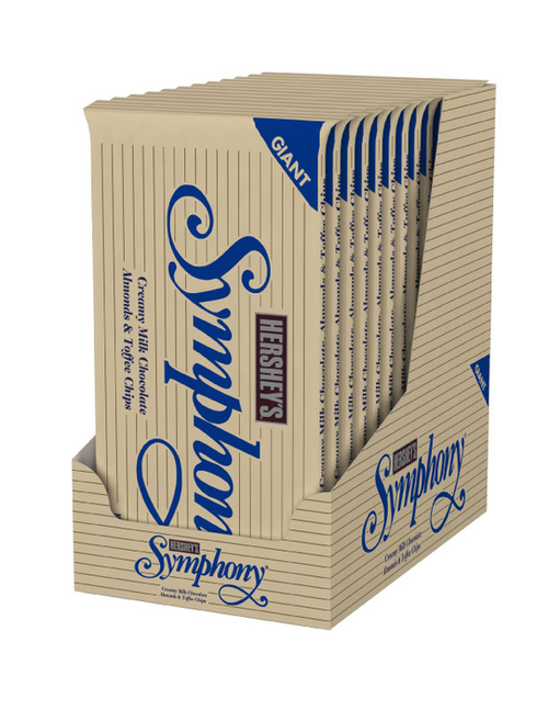 Symphony Chocolate Giant Candy Bar with Almond 6.8 Ounce 12 Count