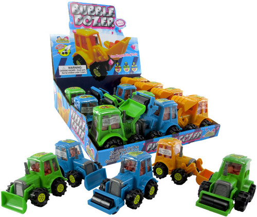 Bubble Dozer Pull Back Car With Candy 0.25 Ounces 12 Count
