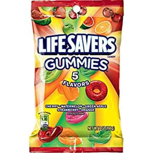Life Savers Gummies 5 Flavors 7 Ounce 12 Count Peg Bag