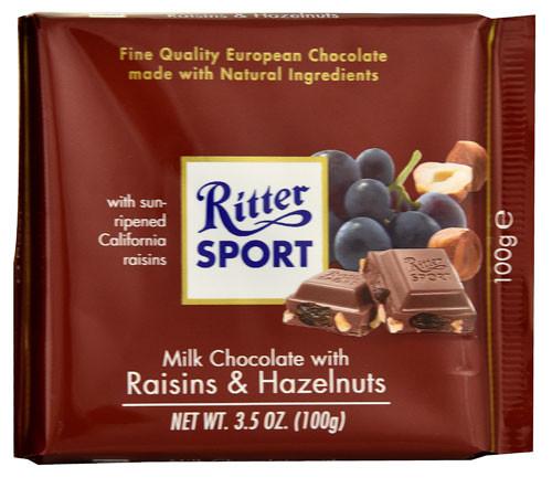 Ritter Sport Milk w/Raisins & Hazelnuts 3.5 Ounce 12 Count