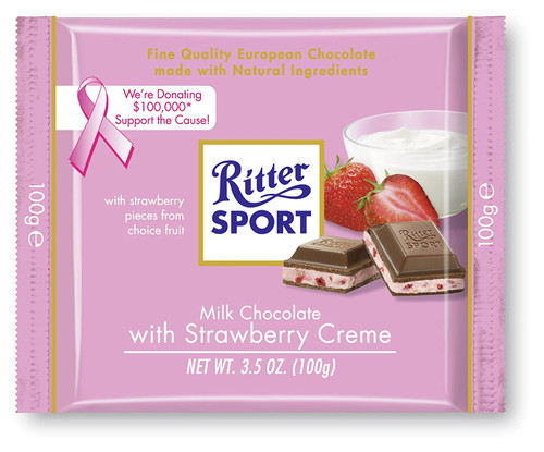 Ritter Sport Milk w/Strawberry Creme 3.5 Ounce 12 Count