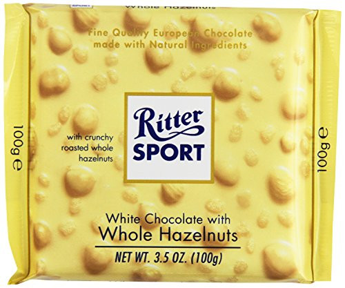 Ritter Sport White w/Whole Hazelnuts 3.5 Ounce 10 Count