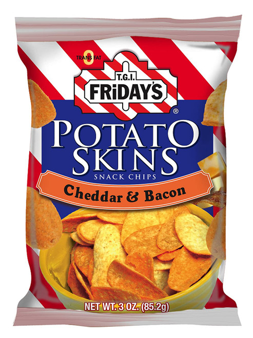 TGIF Potato Skin Chips Chedder & Bacon 3 Ounce 6 Count