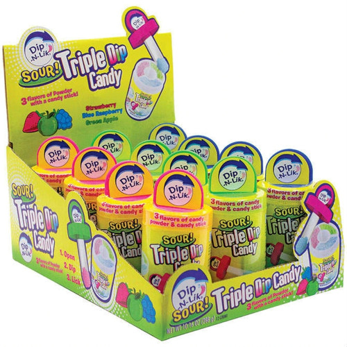 Dip N Lik Sour Triple Dip Candy 0.85oz 12ct