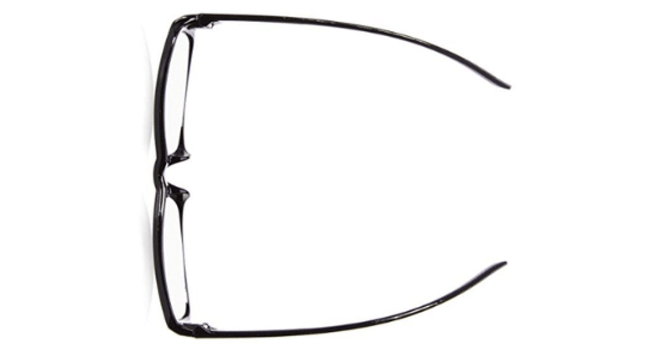 Top view of black plastic reading glasses. Orders may be filled with brown or black reading glasses.