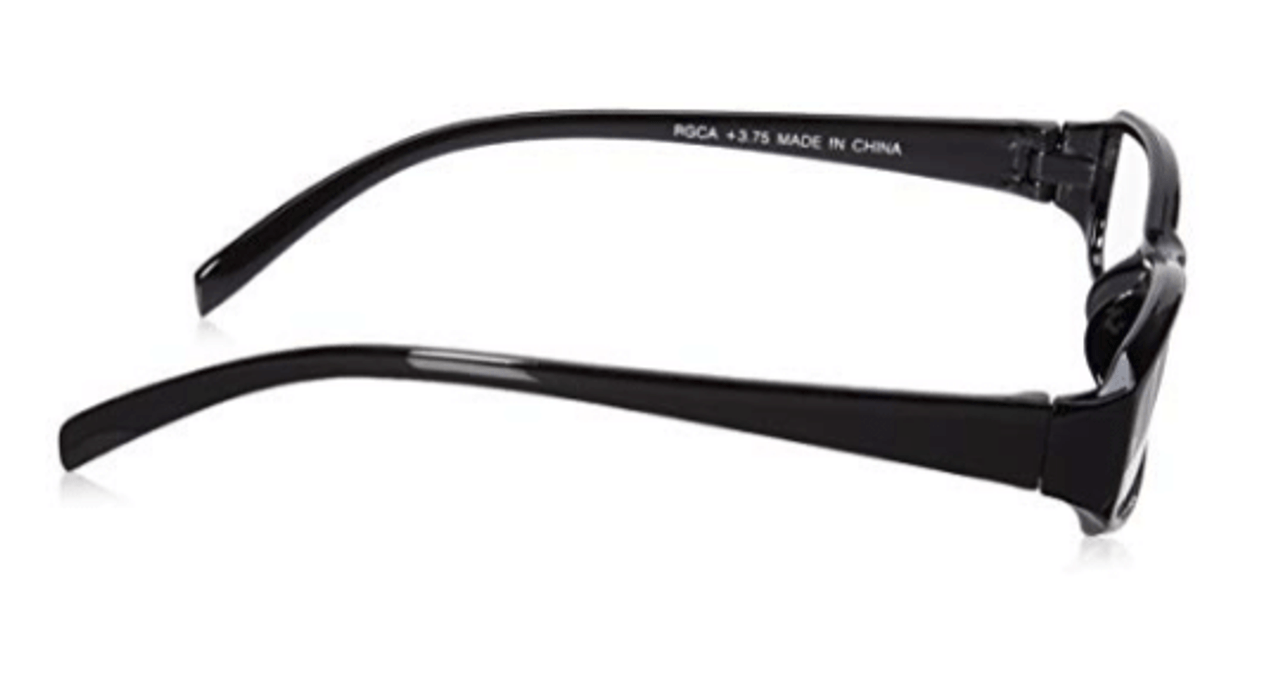 Side view of plastic reading glasses at a wholesale price.