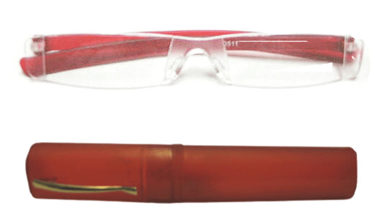 Red ACRYLIC Reading Glasses with a tube Case