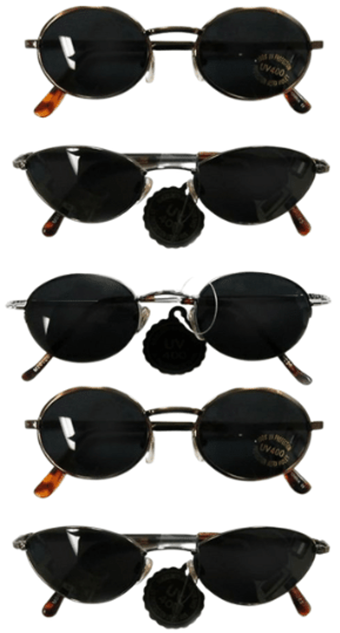Sunglasses for Adults. Assortment of styles of sunglasses for bulk purchase at wholesale prices. A mix of metal and plastic sunglasses.
