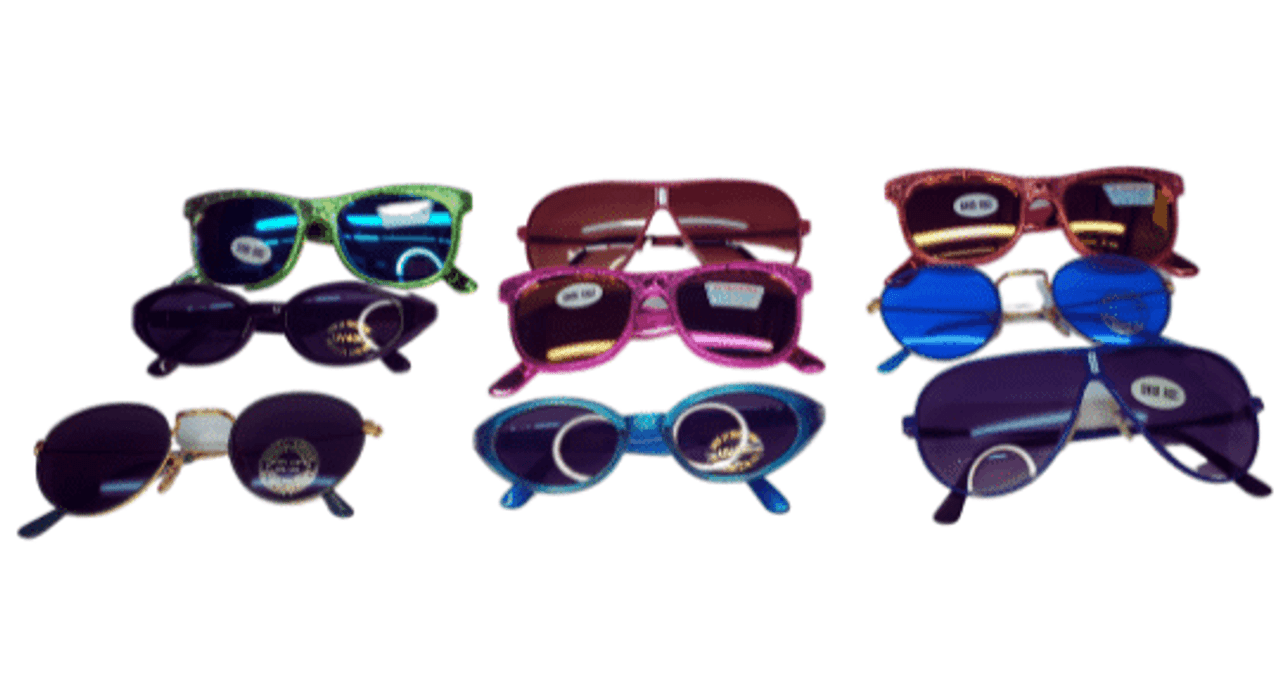 Metal and plastic sunshades for kids. Fun colors and styles of sunglasses for children at a cheap price for bulk orders