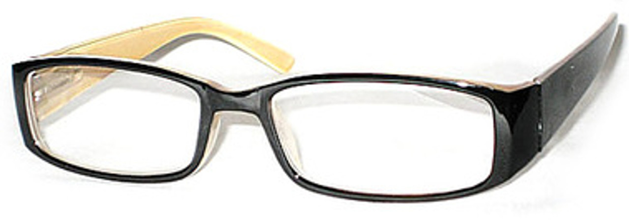 Plastic Black Frame with a cream interior. Classy reading glasses with a spring hinge. Full frame readers with rounded edges and a thick ear piece.