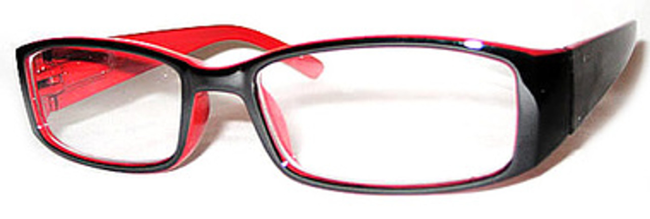 Plastic Black Frame with a red interior. Classy reading glasses with a spring hinge. Full frame readers with rounded edges and a thick ear piece.