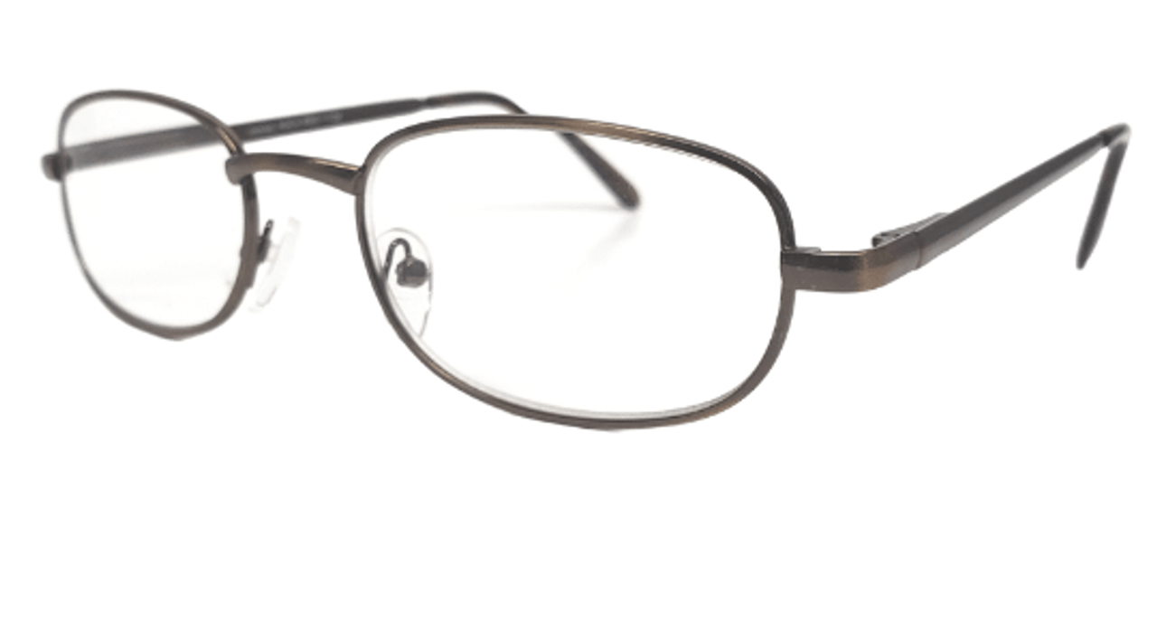Side view of a Classic metal reading glasses in a bronze color. Basic readers with spring hinges for comfort at home and at the office.
