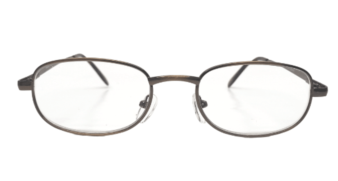 Front view of the basic bronze reading glasses with spring hinges