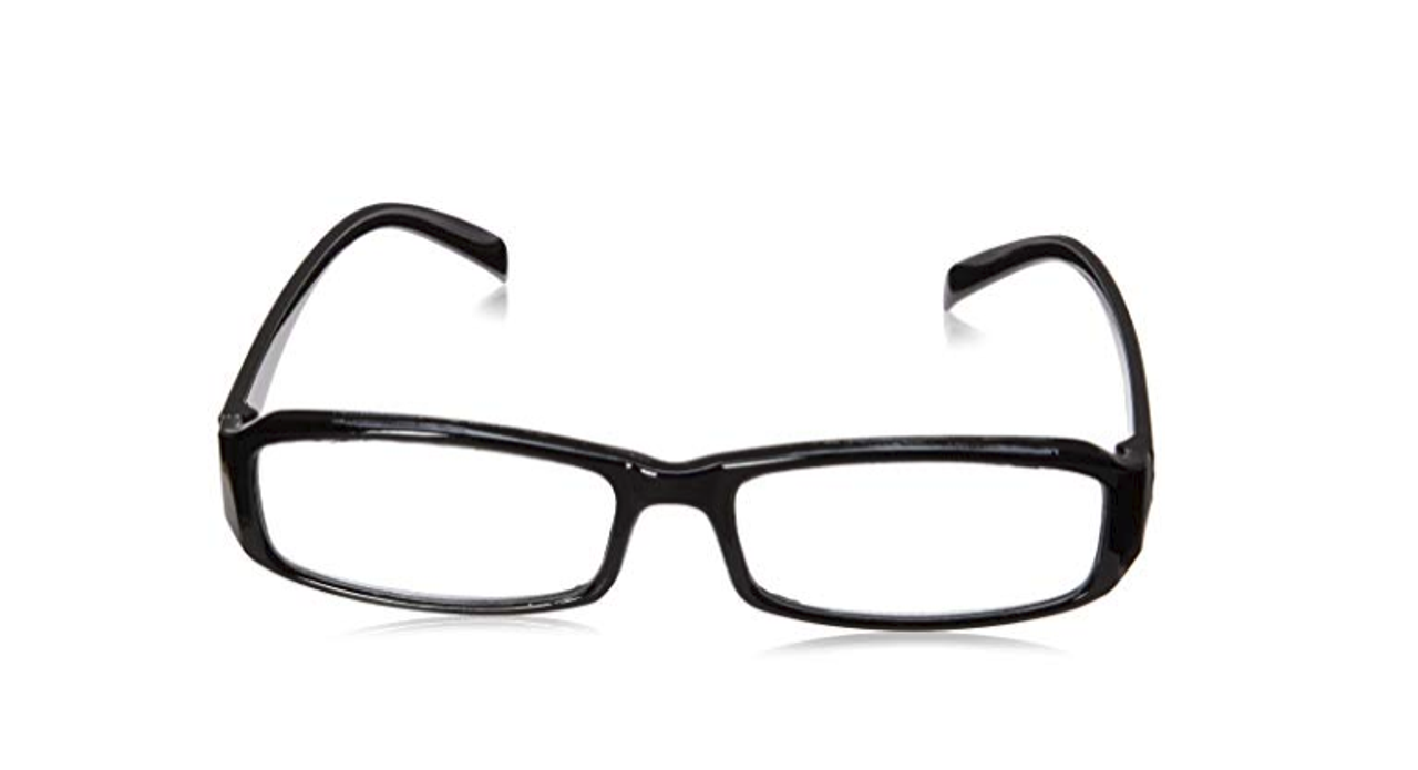 Front view of black reading glasses available in bulk order at a wholesale price.