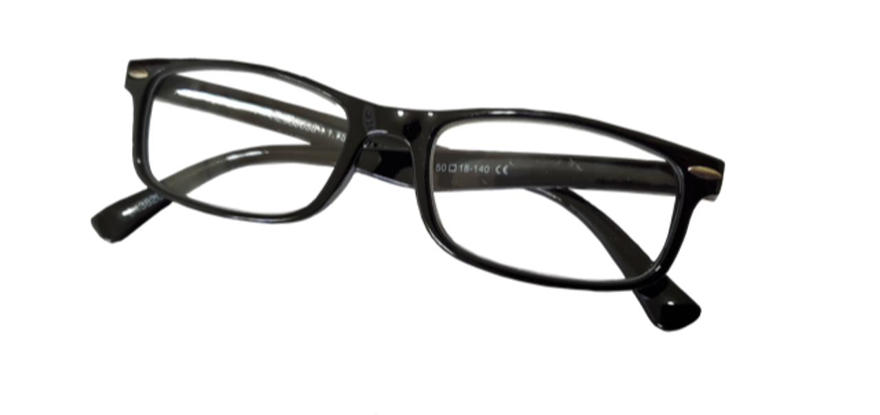 Plastic full frame reading glasses in a black color available in bulk order at a wholesale price