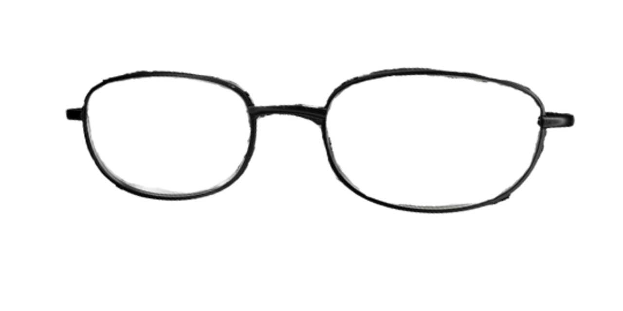 Front shot of basic metal reading glasses. Foster grant brand of readers.
