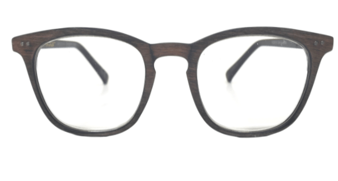 Front view of wooden grain reading glasses