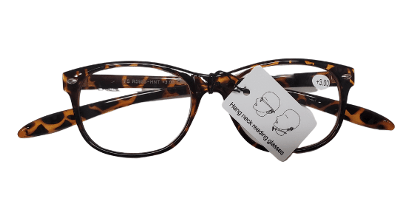 Around the neck reading glasses in tortoise color front view