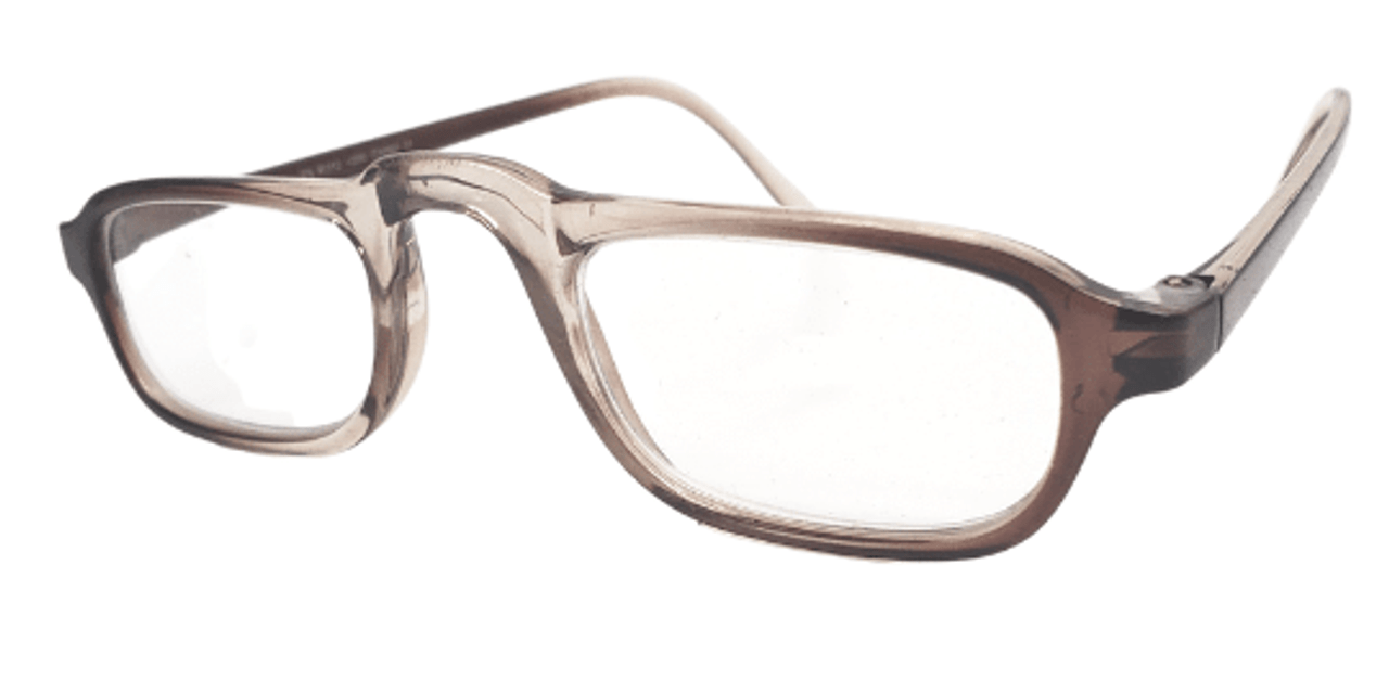 Side view of clear brown reading glasses in a half frame
