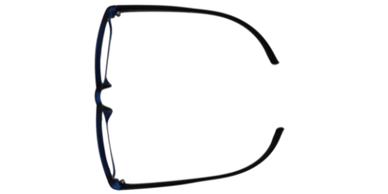 Top view of reading glasses that hang around a person's neck
