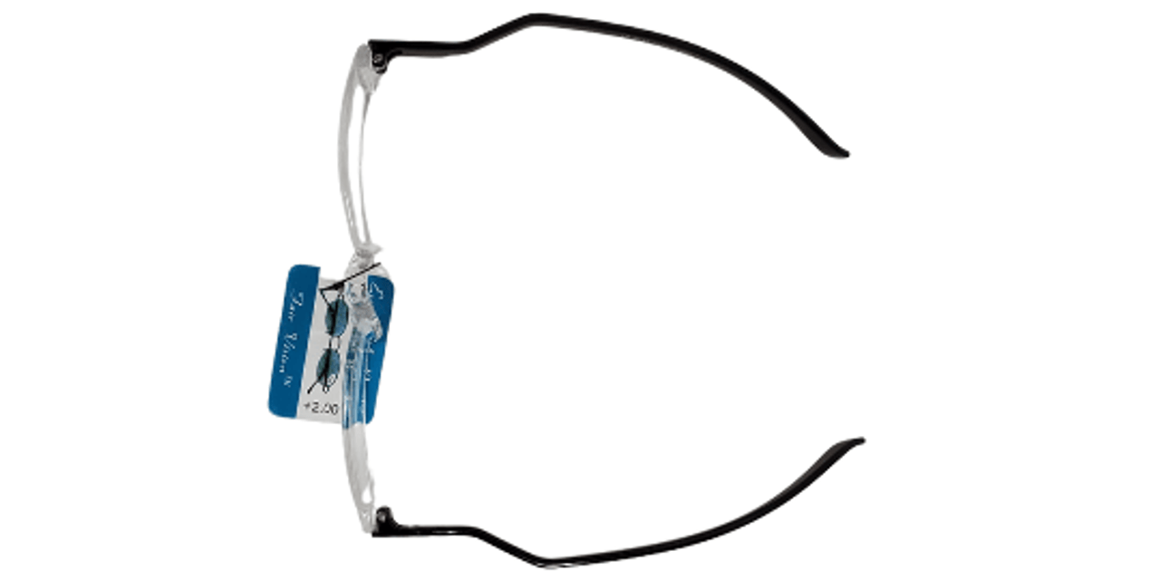 Top view of Acrylic reading glasses with interesting temple pieces