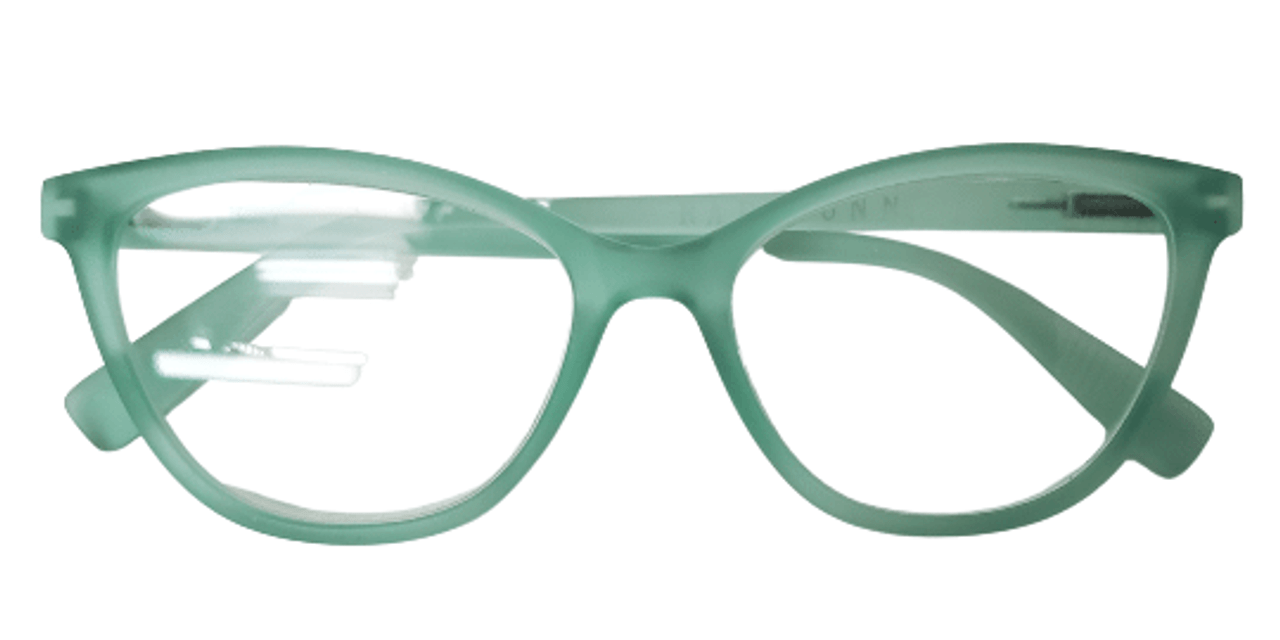 Green colored cat eye reading glasses front view