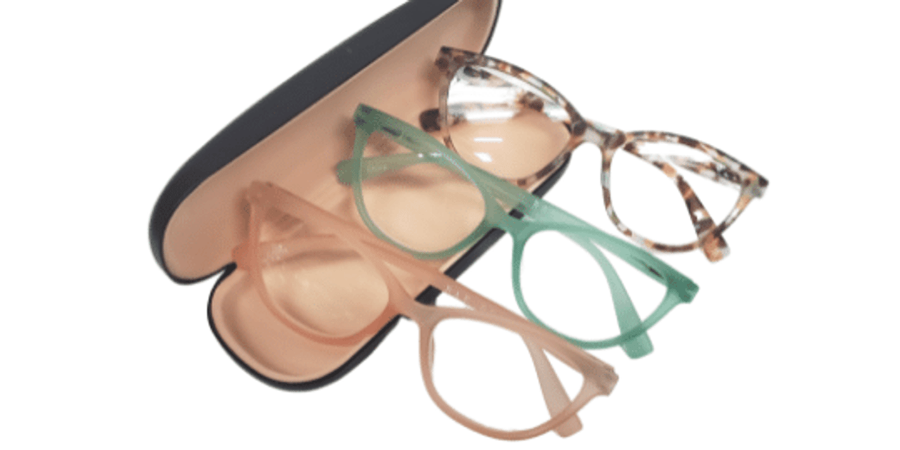 Three Rae Dunn Reading Glasses with case