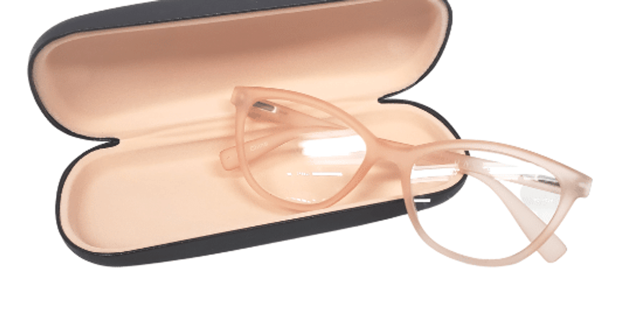 Peach reading glasses with hard shell case in cat eye style