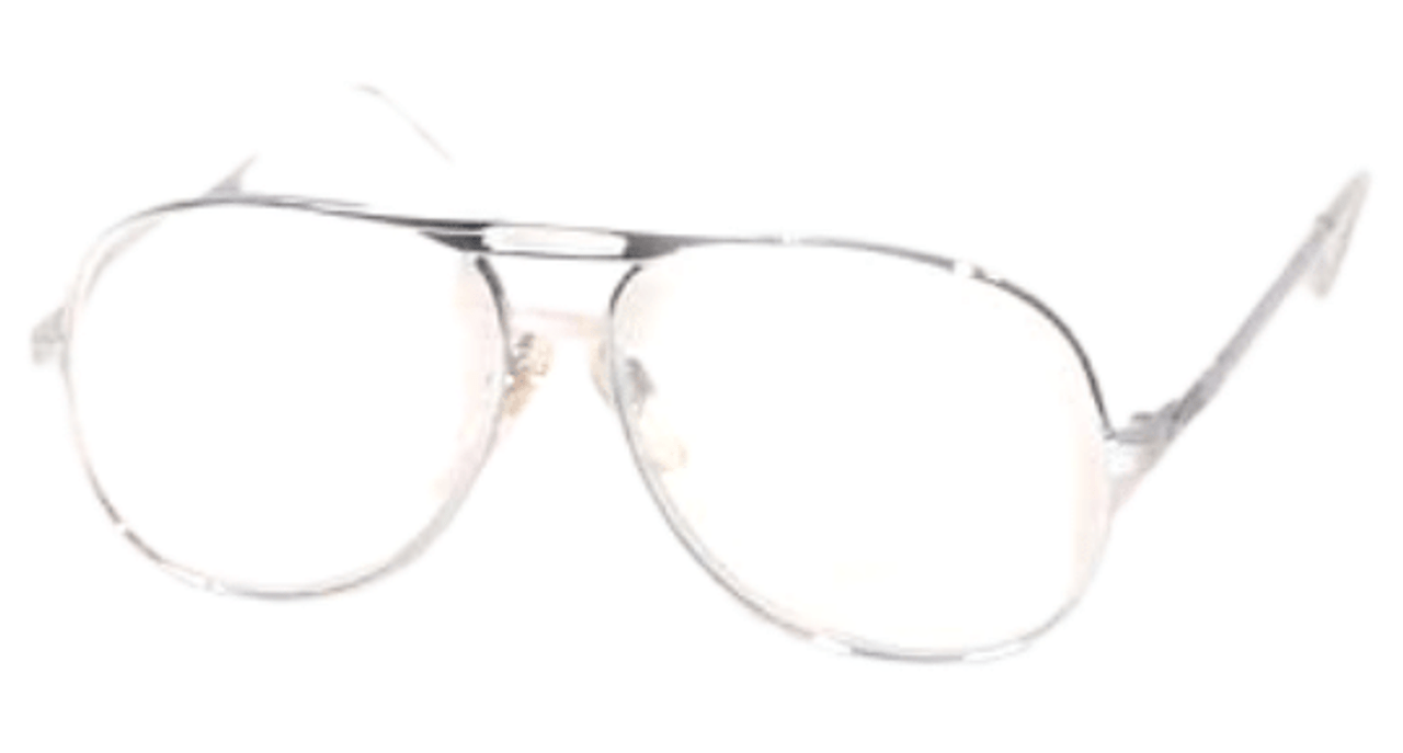 Angle view of silver reading glasses in aviator style