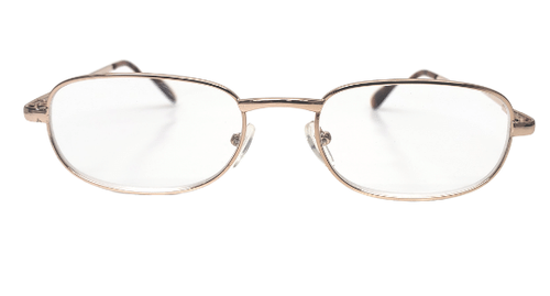 Front view of golden reading glasses with feature spring hinges