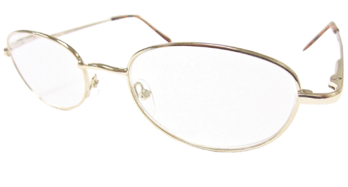 Side view of the Basic Gold Reading glasses with Spring hinges for comfort at the office and at home.