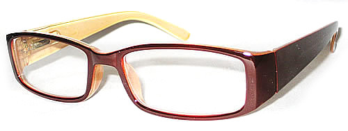 Plastic Dark Brown Frame with a light brown interior. Classy reading glasses with a spring hinge. Full frame readers with rounded edges and a thick ear piece.
