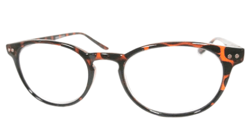 Thin Retro Reading Glasses in Tortoise Shell with Simple Embellishment on the lens corner.