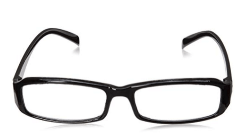 Front view of plastic reading glasses in black. Available in a mix of brown and black reading glasses.