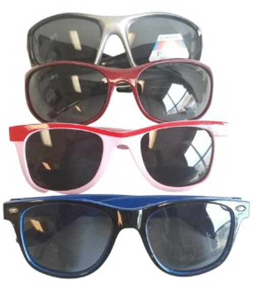 Plastic Sunglasses in assorted styles for Children. Colorful plastic reading glasses at wholesale prices and quantities for kids.