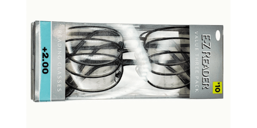 Package of 3 reading glasses. Value pack of reading glasses in metal.