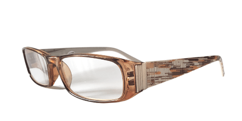 Side view of brown reading glasses in an art deco style
