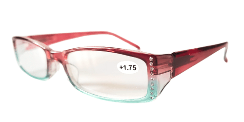 Side view of colorful reading glasses with crystals on the side.